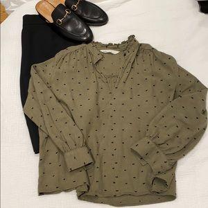 Olive Zara blouse with tiny black poms